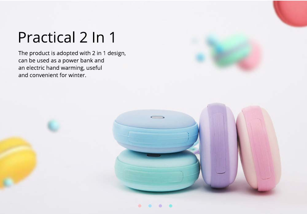 2-in-1 Power Bank Hand Warmer, Creative Pocket Silicone Hand Warmer Electric Heater USB Charger Rechargeable 4500mAh Power Bank, Macaroon Color 12