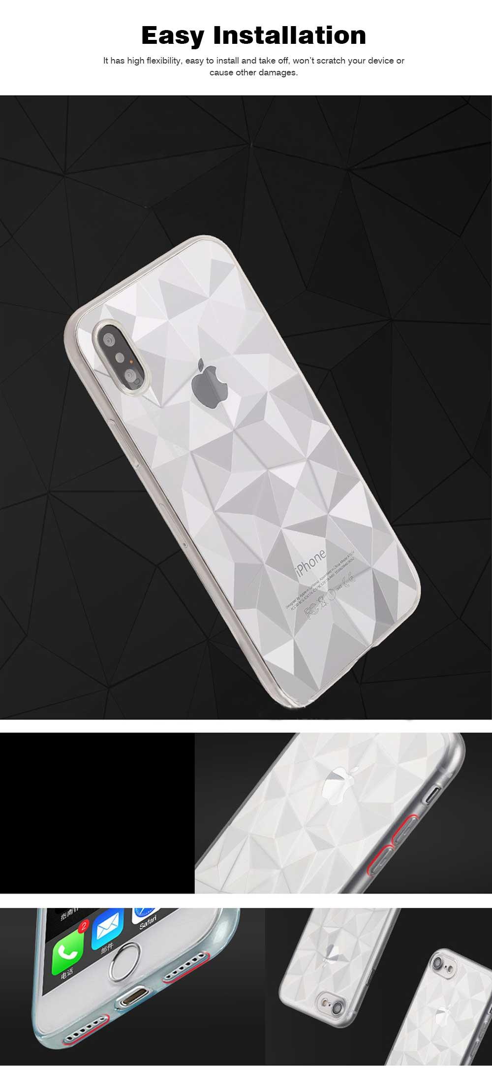 4.7-6.5 inch Soft Phone Case for iPhone Samsung Huawei, Rhombus TPU Phone Cover, Transparent Rhombus Pattern Phone Case 4