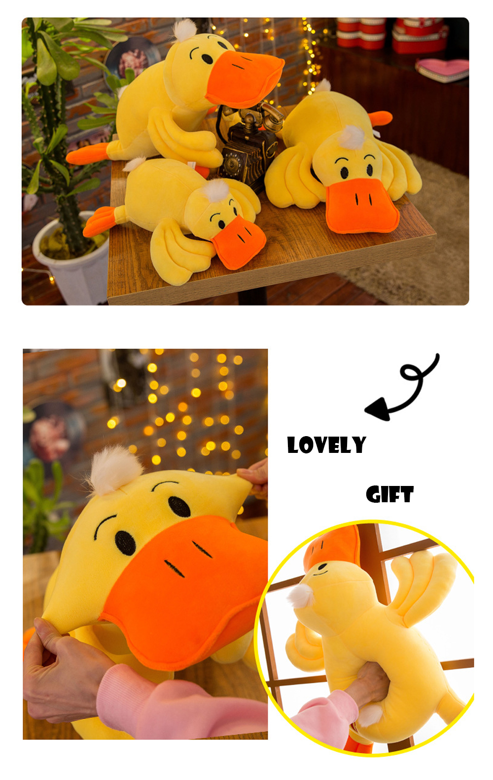 Yellow Duck Plush Toy, Grab Doll Claw Toy, Cute Duck Doll Festival Activities Gift 6