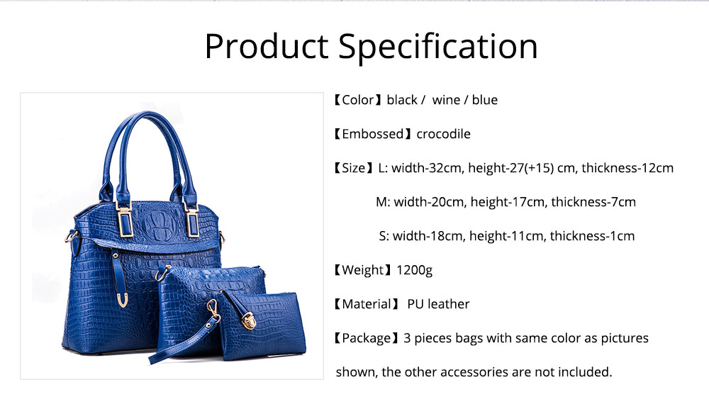 Elegant Lady Accessories Sets 3pcs Crocodile Stria Embossed PU Leather Shoulder Bag & Cross Body Pouch & Strapped Clutch 8