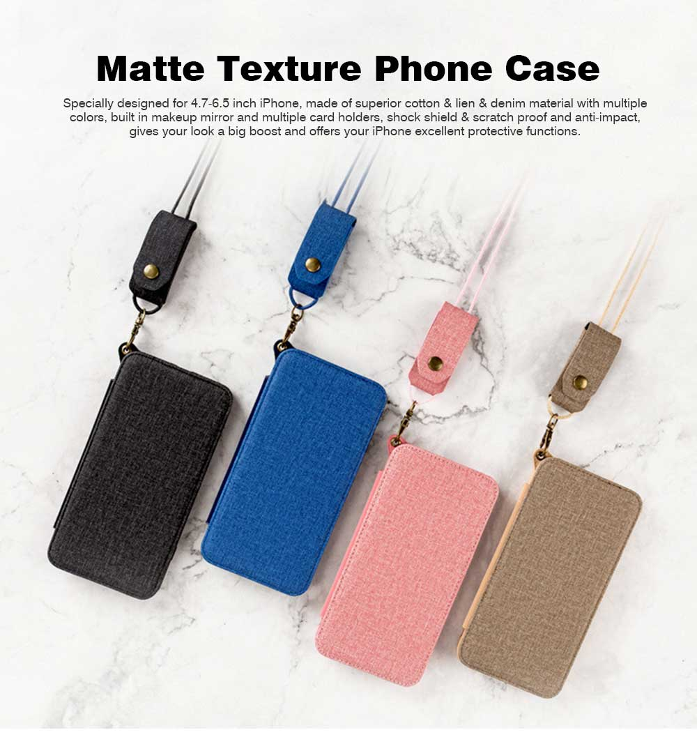 Matte Texture Phone Case with Inside Mirror for iPhone 6,6S,6P,6SP,7,8,7P,8P,X,XS,XS Max,XR Samsung Note 8,S8,S8 Plus, Built-in Mirror Folio Phone Cover 0