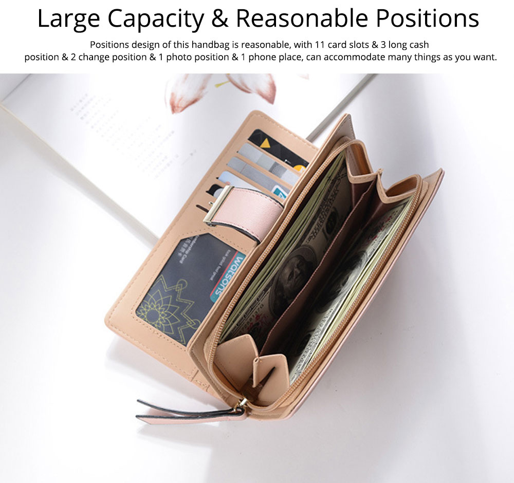 Women Long Wallet, PU Leather Zipper Change Purse, Hollow-out Leaves Card Bag Casual Handbag 3