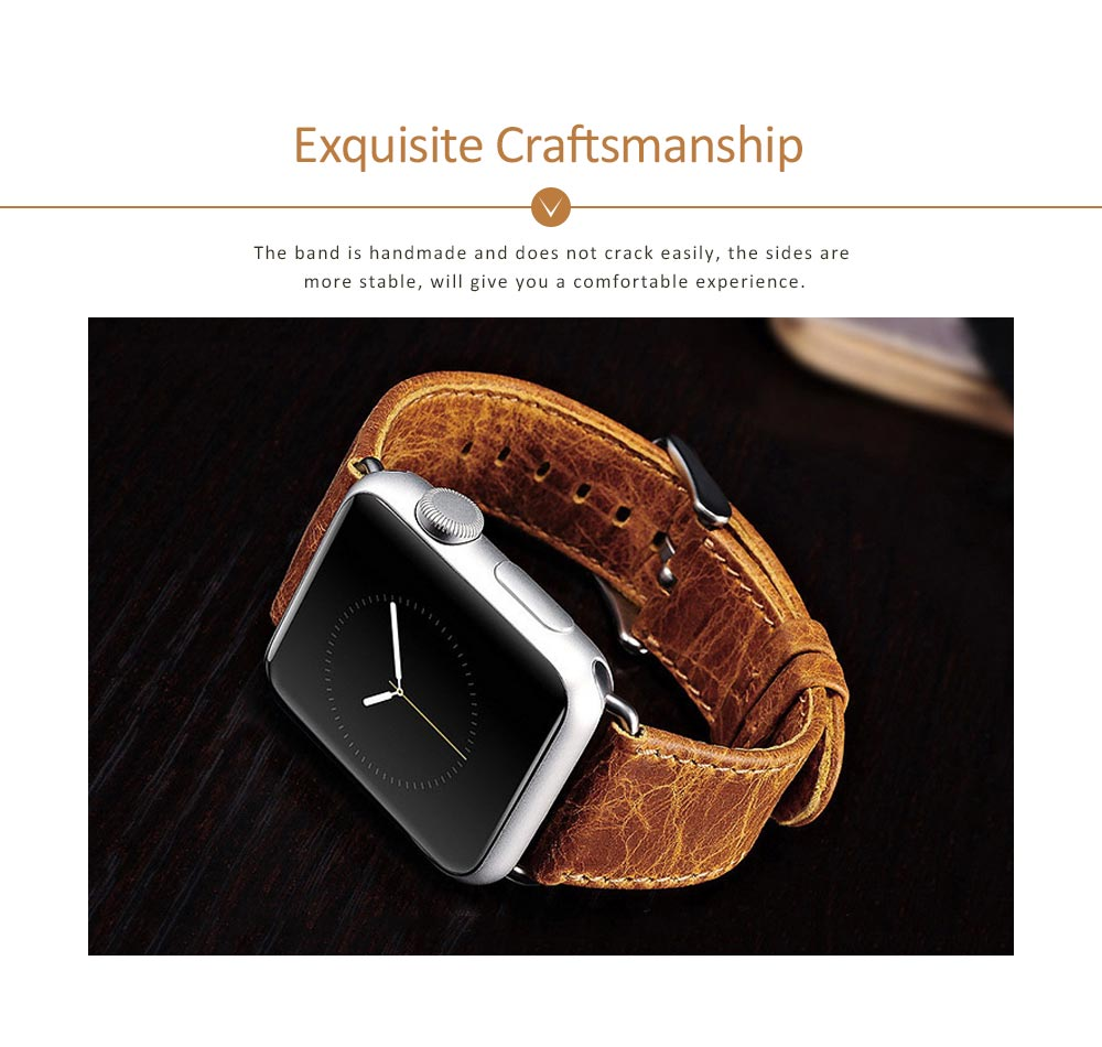 Cowhide Genuine Leather Watchband for Apple Watch 38mm, 42mm, Durable Luxurious Leather Watch Strap 3
