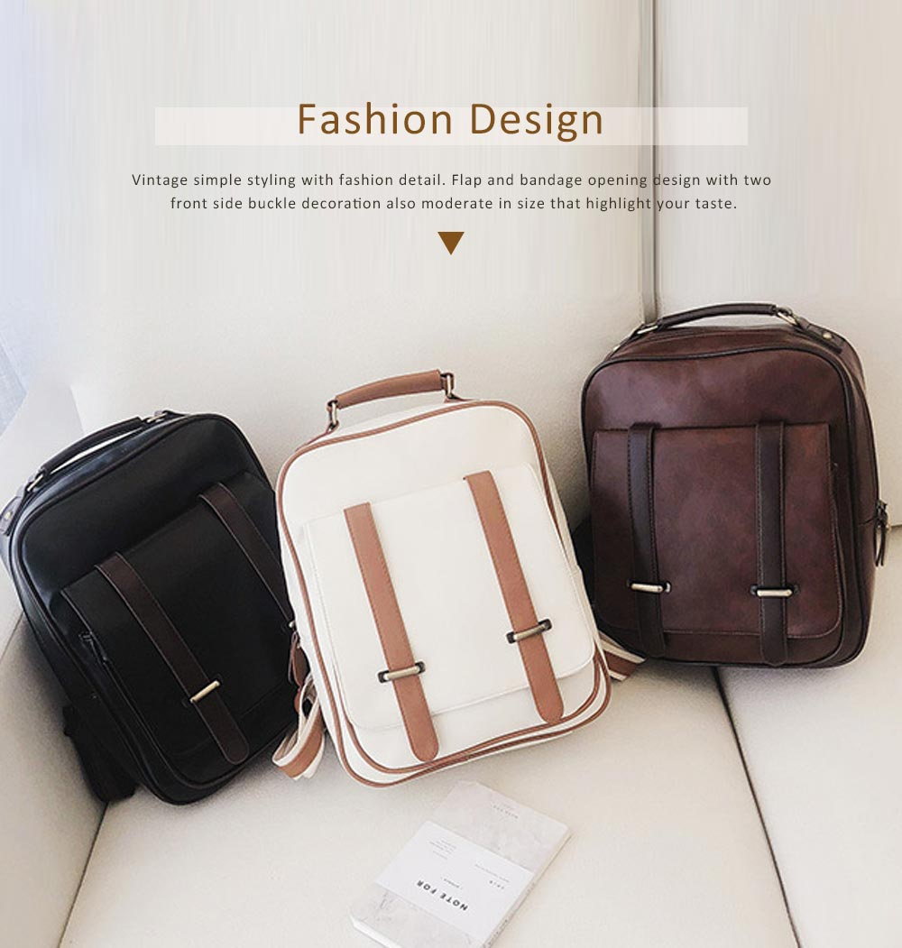 Japanese Style College School Bag Vintage Casual Zipper Flap PU Leather Shoulder Bag Fashion Accessories 4