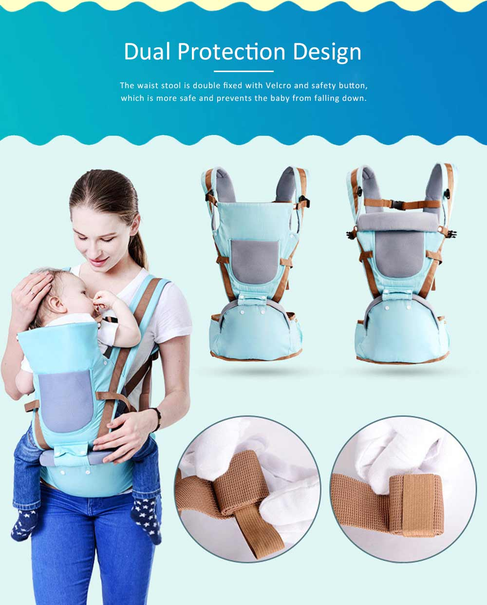 Baby Carriers Front And Back Newborn, Breathable Multifunctional Baby lab with 3D breathable Mesh Cloth and Large Waist Stool for Baby 6