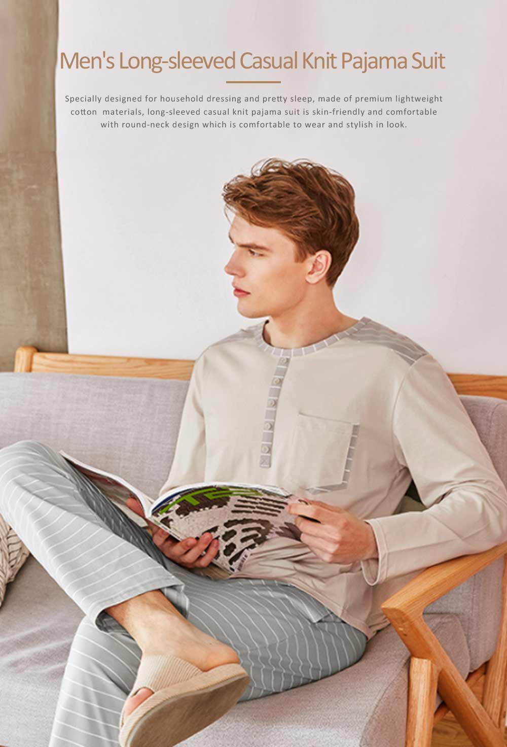 Men's Long-sleeved Casual Knit Pajama Suit with Round-neck Design, Breathable & Soft Household Clothes for Spring Autumn 0