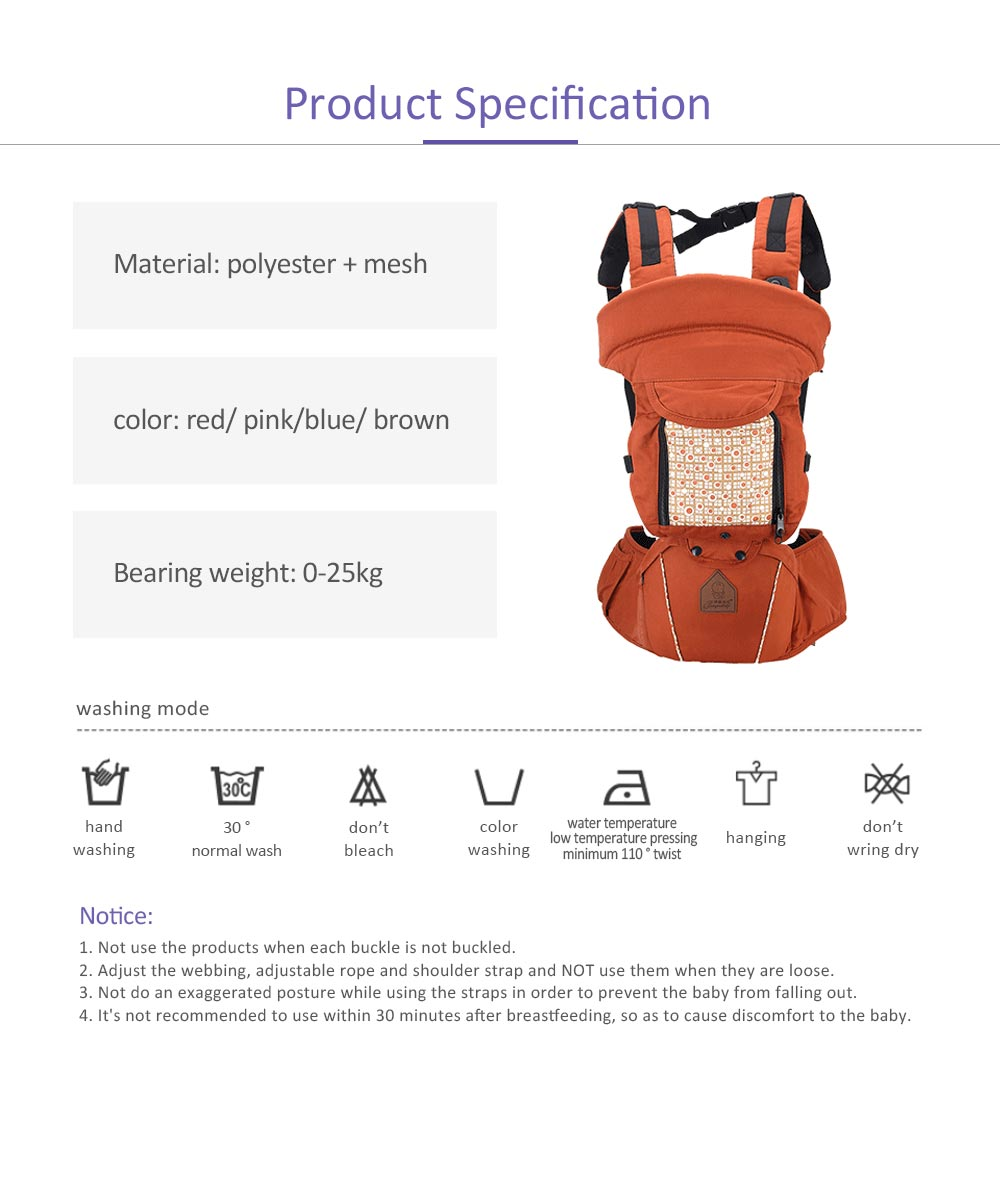 Multifunctional Children Back Bag Waist Stool, Shock-proof & Pressure-reducing Baby Carrier with Breathable Hip Seat for Four Seasons General 7