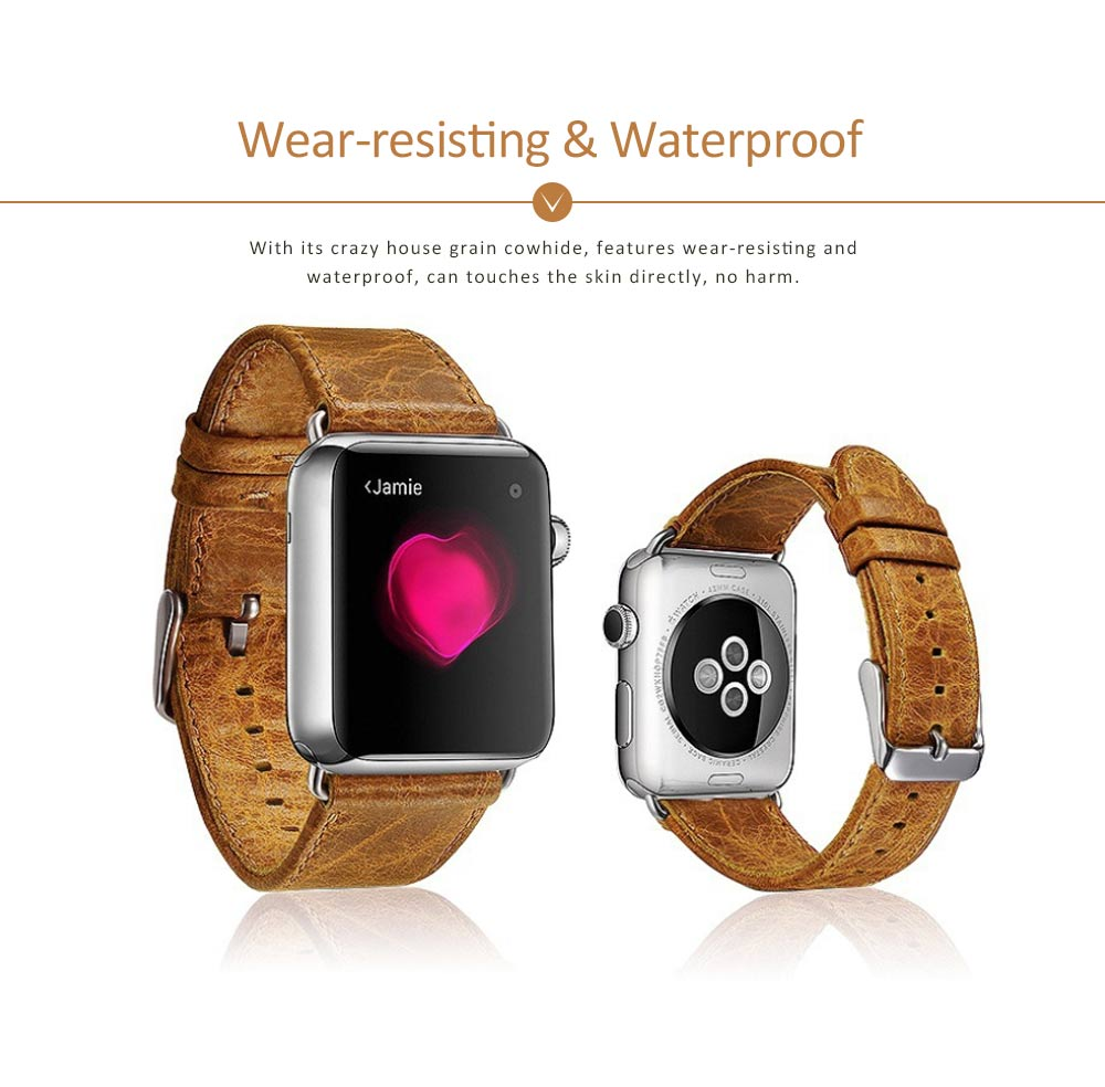 Cowhide Genuine Leather Watchband for Apple Watch 38mm, 42mm, Durable Luxurious Leather Watch Strap 5