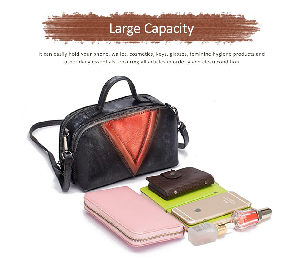 Retro Color Layer Leather Handbag With Hardware Fasteners, Fashion Original Pure Portable Diagonal Personality Small Bag 3