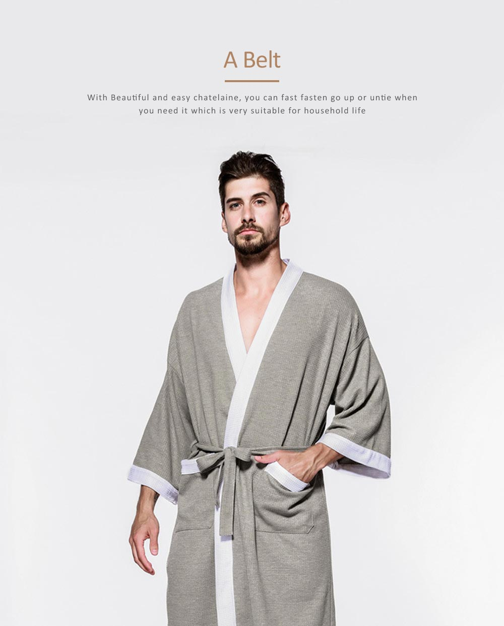 Men All-cotton Skin-friendly Night Gown, Bathrobe, Sweat Sauna Towel for Beauty Salon and Spa Hotel 2