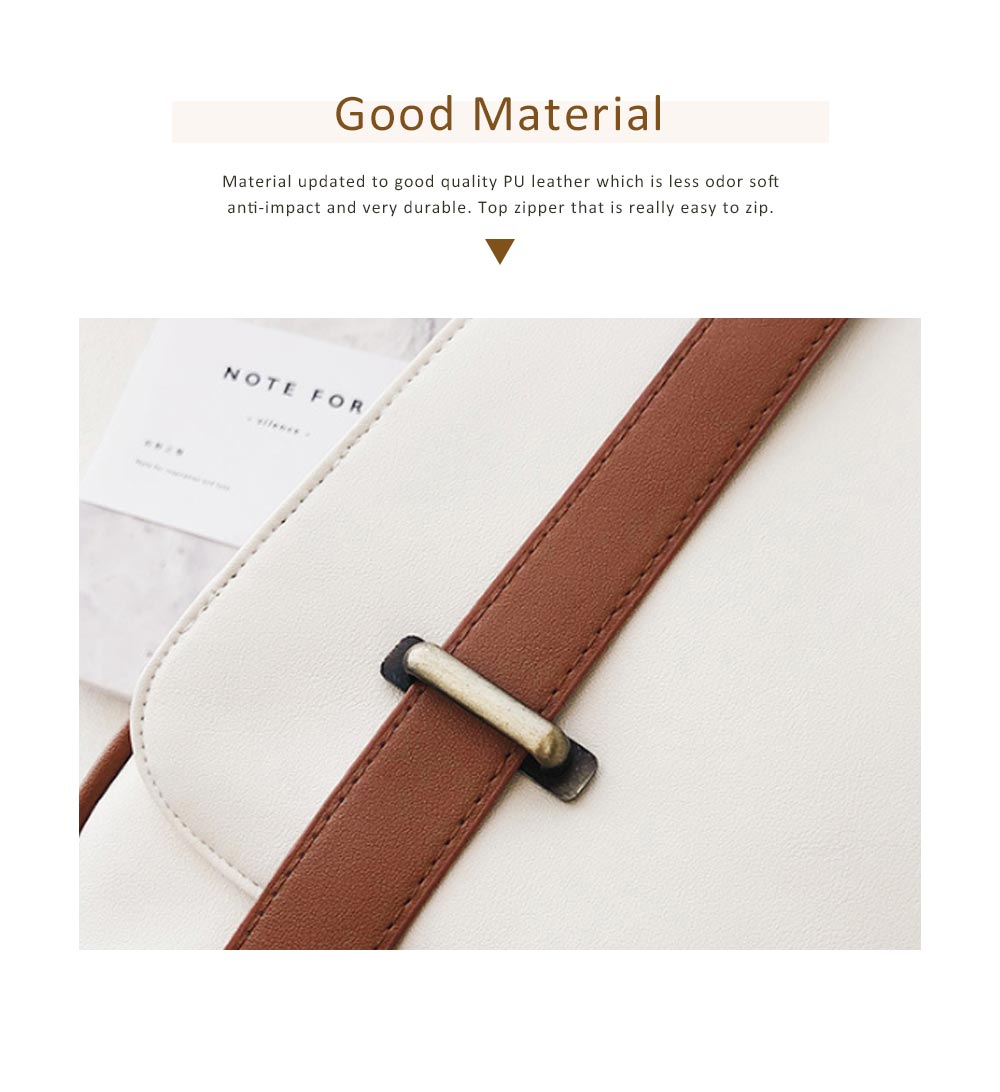 Japanese Style College School Bag Vintage Casual Zipper Flap PU Leather Shoulder Bag Fashion Accessories 1