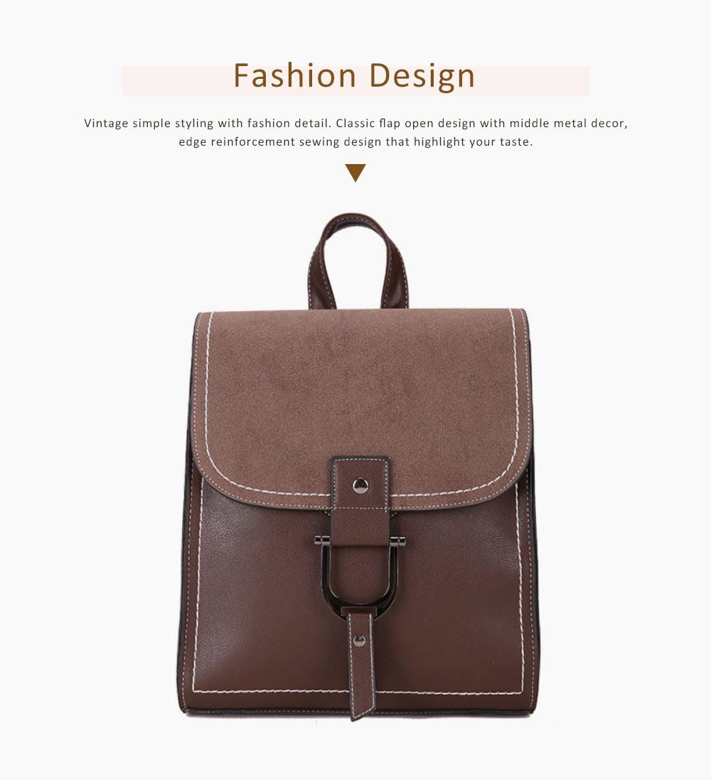 Backpack & Shoulder Bag Vintage Casual Flap PU Leather Bag Set, Large Capacity magnetic Handbags College School Bag With Shoulder Bag 2