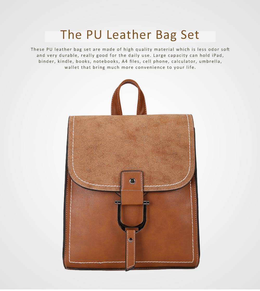Backpack & Shoulder Bag Vintage Casual Flap PU Leather Bag Set, Large Capacity magnetic Handbags College School Bag With Shoulder Bag 0