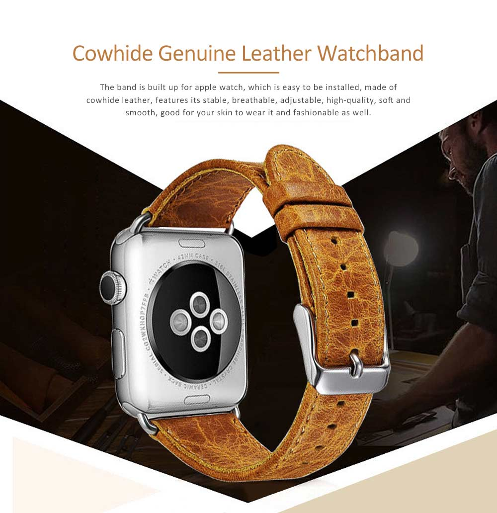 Cowhide Genuine Leather Watchband for Apple Watch 38mm, 42mm, Durable Luxurious Leather Watch Strap 0