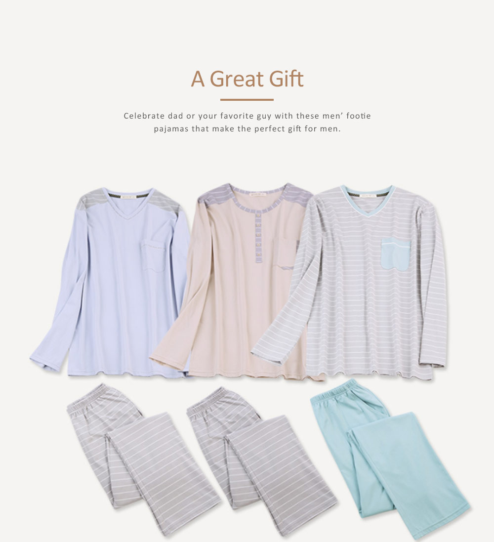 Mens Sleeping Pajamas Suit, Long-sleeved Casual Knit Pajama Suit with V-neck Design for Spring and Autumn 2