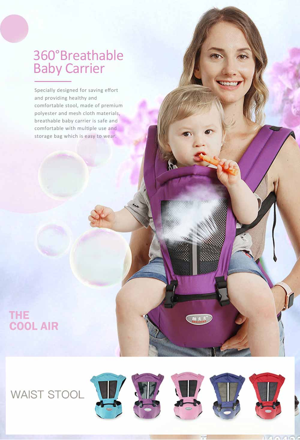 Best Baby Carrier for Newborn, Breathable Non-slip Baby Lab with Multiple Functions and for Four Seasons General 0