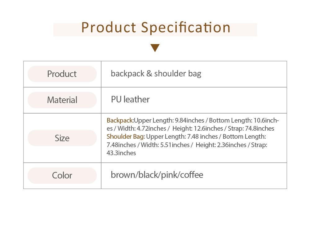 Backpack & Shoulder Bag Vintage Casual Flap PU Leather Bag Set, Large Capacity magnetic Handbags College School Bag With Shoulder Bag 6