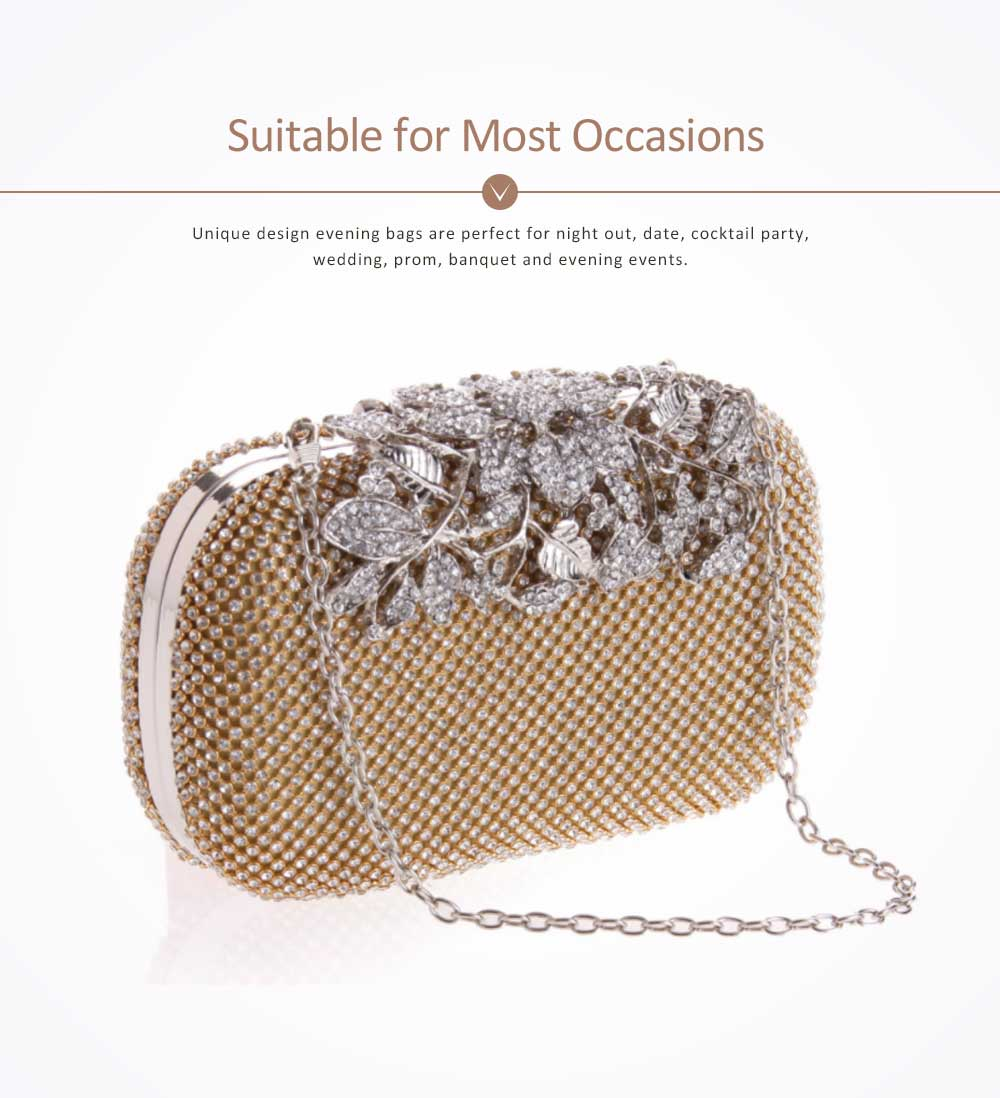 Rhinestone Handbags with Chain Shoulder Strap for Hand Holding Fashion Hard Shell Small Square Cool Bag for Evening Party 4