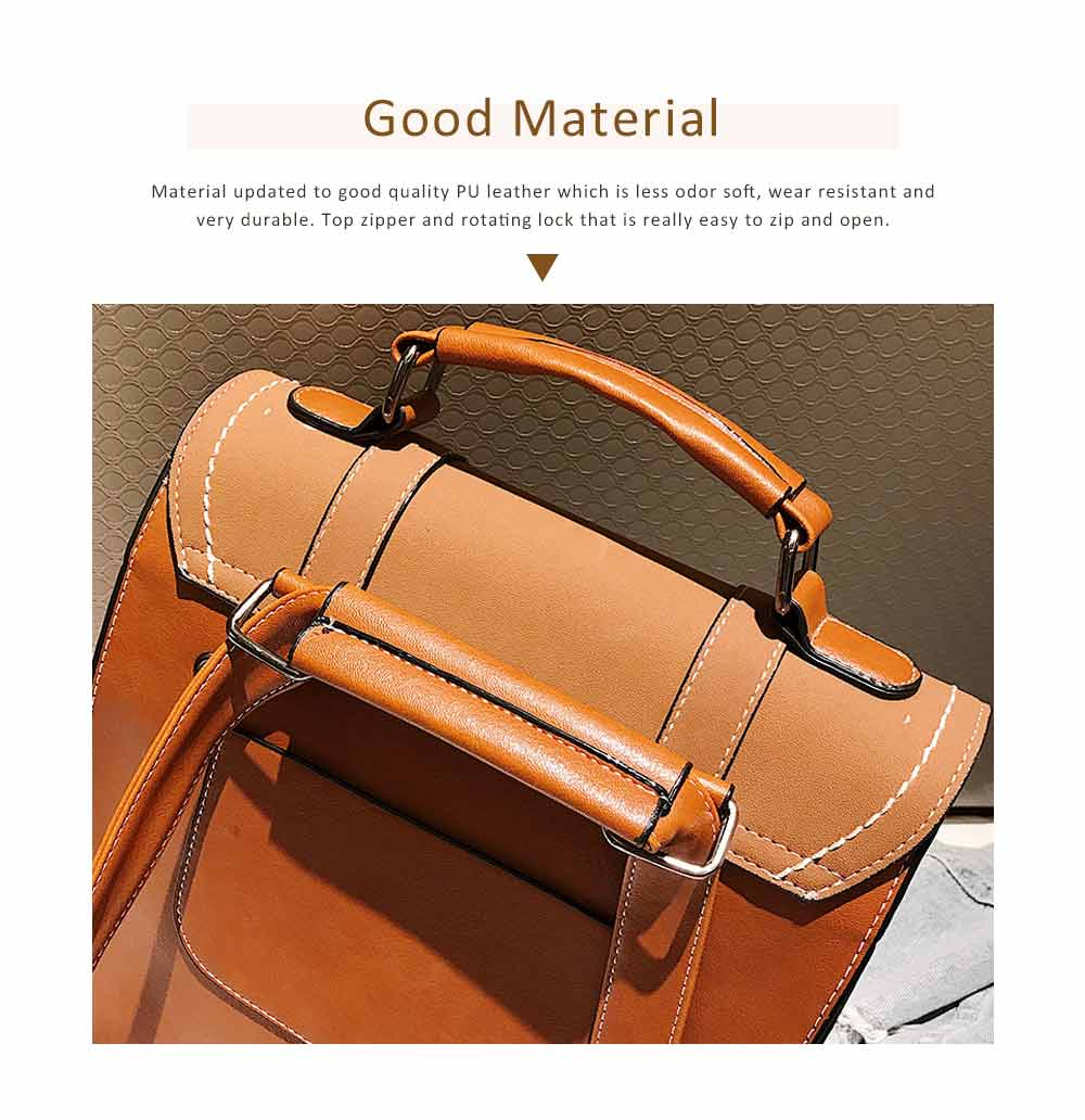 Flip PU Leather Backpack Rucksack Bag Fashion Accessories Large Capacity Handbags College School Bag 1