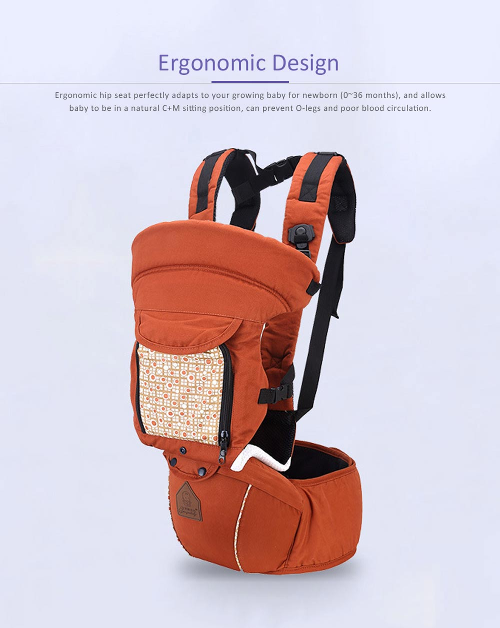 Multifunctional Children Back Bag Waist Stool, Shock-proof & Pressure-reducing Baby Carrier with Breathable Hip Seat for Four Seasons General 4