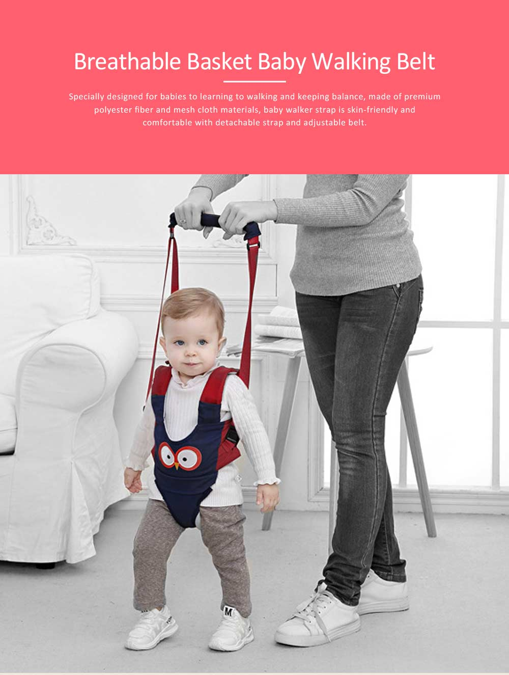 Handheld Baby Walker for Toddler, Breathable Basket Baby Walking Belt with Detachable Crotch for Infant 0