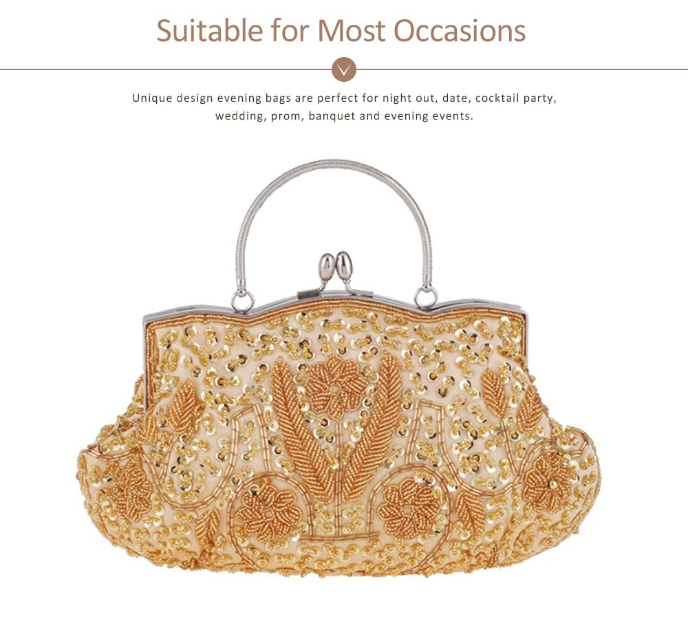 Classic Beads Dinner Bag with Matching Cheongsam, Moonlight Embroidery Cocktail Bag For the Bride, Bridesmaid 11