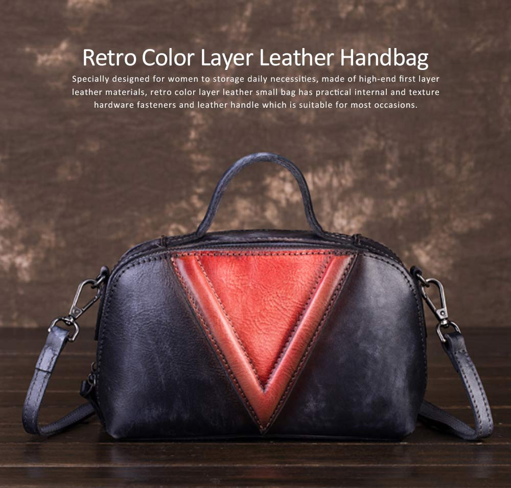 Retro Color Layer Leather Handbag With Hardware Fasteners, Fashion Original Pure Portable Diagonal Personality Small Bag 6