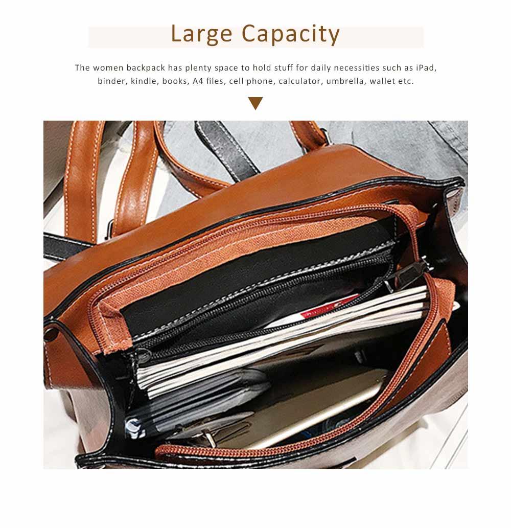 Flip PU Leather Backpack Rucksack Bag Fashion Accessories Large Capacity Handbags College School Bag 2