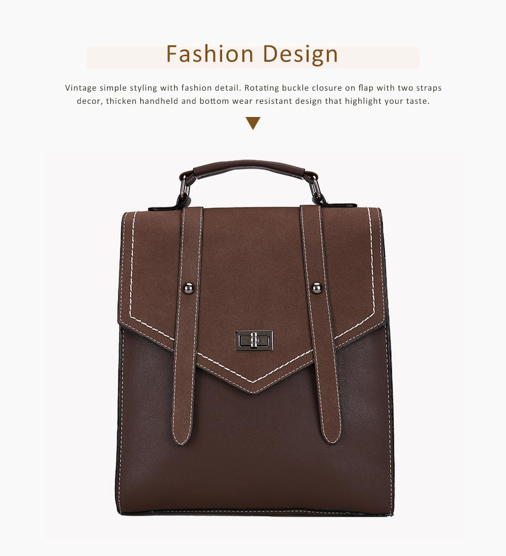 Flip PU Leather Backpack Rucksack Bag Fashion Accessories Large Capacity Handbags College School Bag 3