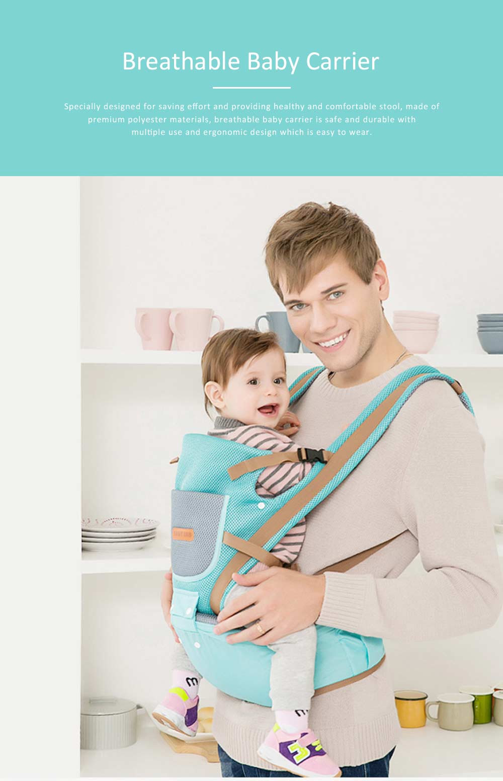 Breathable Baby Carrier, Multi-Functional Wrist Steel Strap With 3D Breathable Mesh Cloth For Baby 0