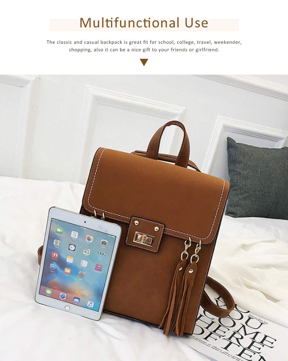 Tassels Handbags College School Bag Large Capacity Backpack Vintage Casual Flap PU Leather Shoulder Bag 4