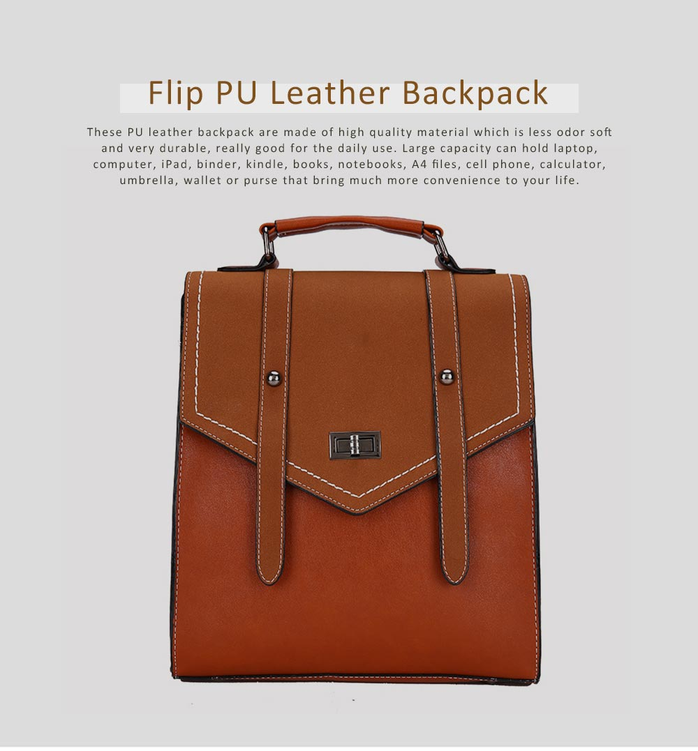 Flip PU Leather Backpack Rucksack Bag Fashion Accessories Large Capacity Handbags College School Bag 0