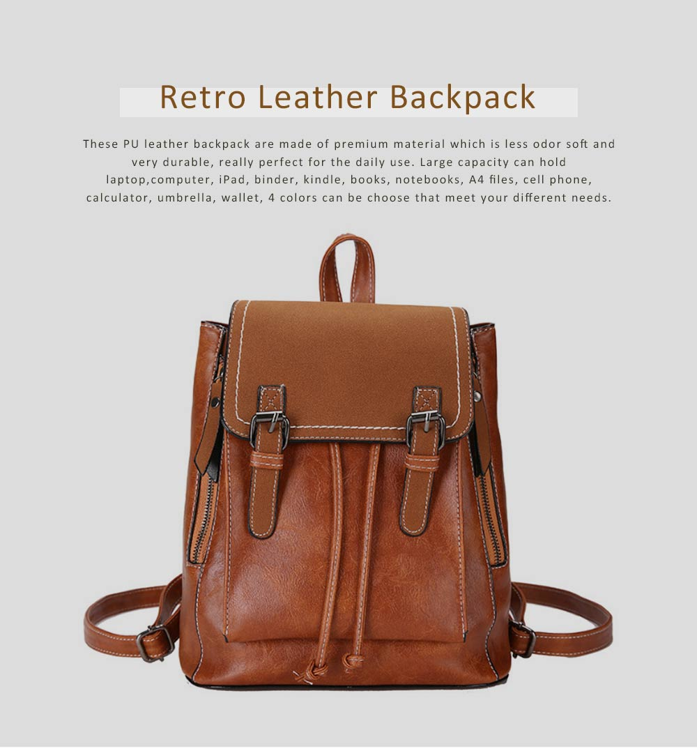 Retro Backpack with Casual Buckle Flap PU Leather Shoulder Bag Fashion Accessories College School Bag Gifts for Women Girls 0