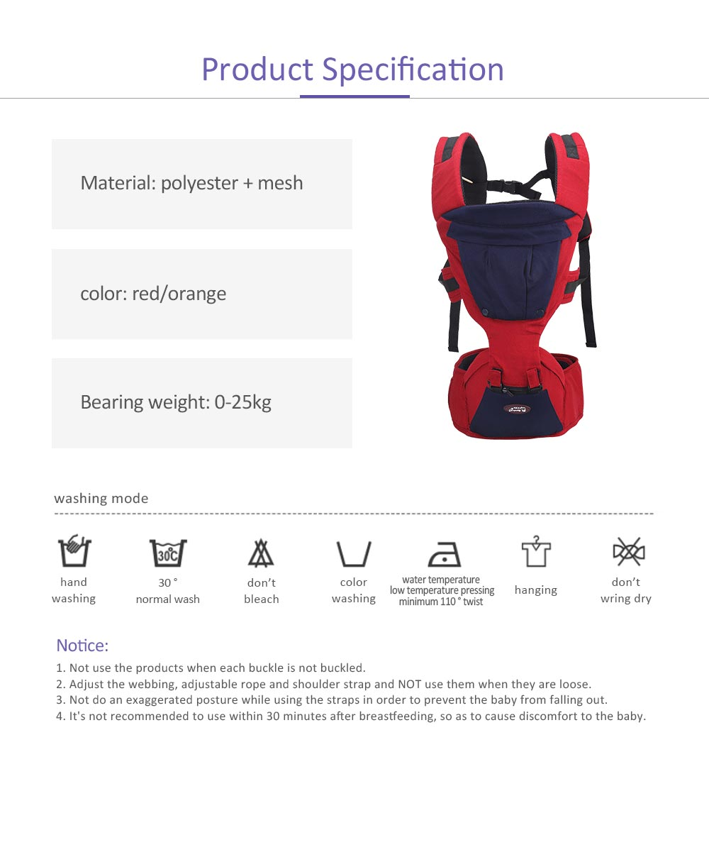 Multifunctional Baby Carrier with Breathable Hip Seat for Four Seasons General, Detachable Strap One Size Fits All -Adapt to Newborn and Infant 7