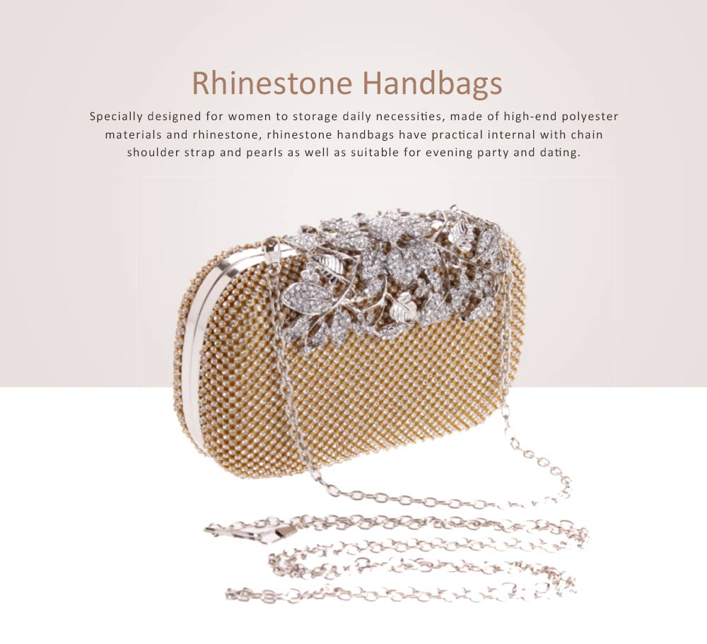 Rhinestone Handbags with Chain Shoulder Strap for Hand Holding Fashion Hard Shell Small Square Cool Bag for Evening Party 0