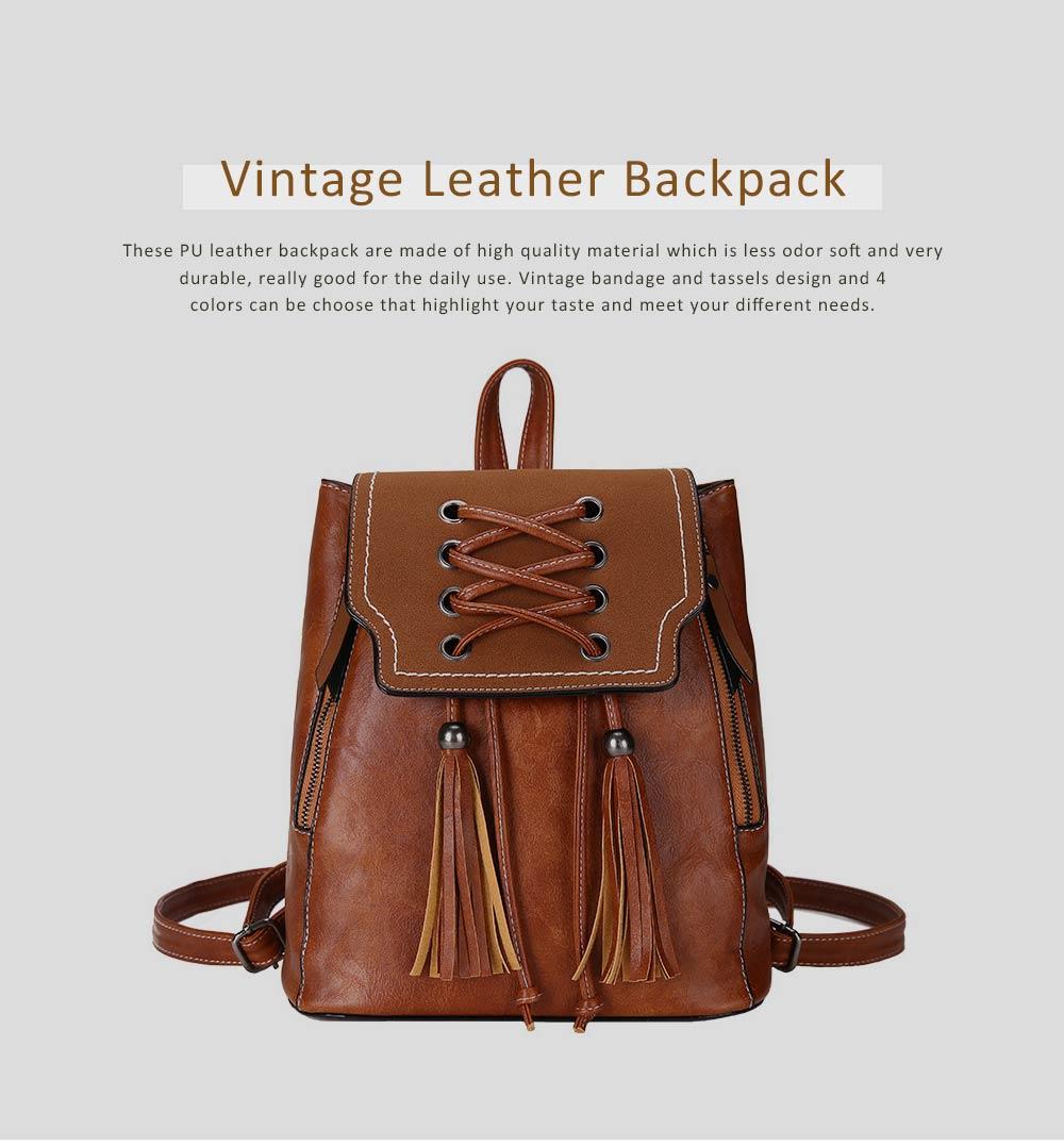 College School Bag Gifts for Women & Girl Backpack Vintage Casual Tassels PU Leather Shoulder Bag 0