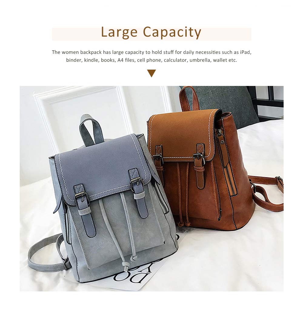 Retro Backpack with Casual Buckle Flap PU Leather Shoulder Bag Fashion Accessories College School Bag Gifts for Women Girls 2