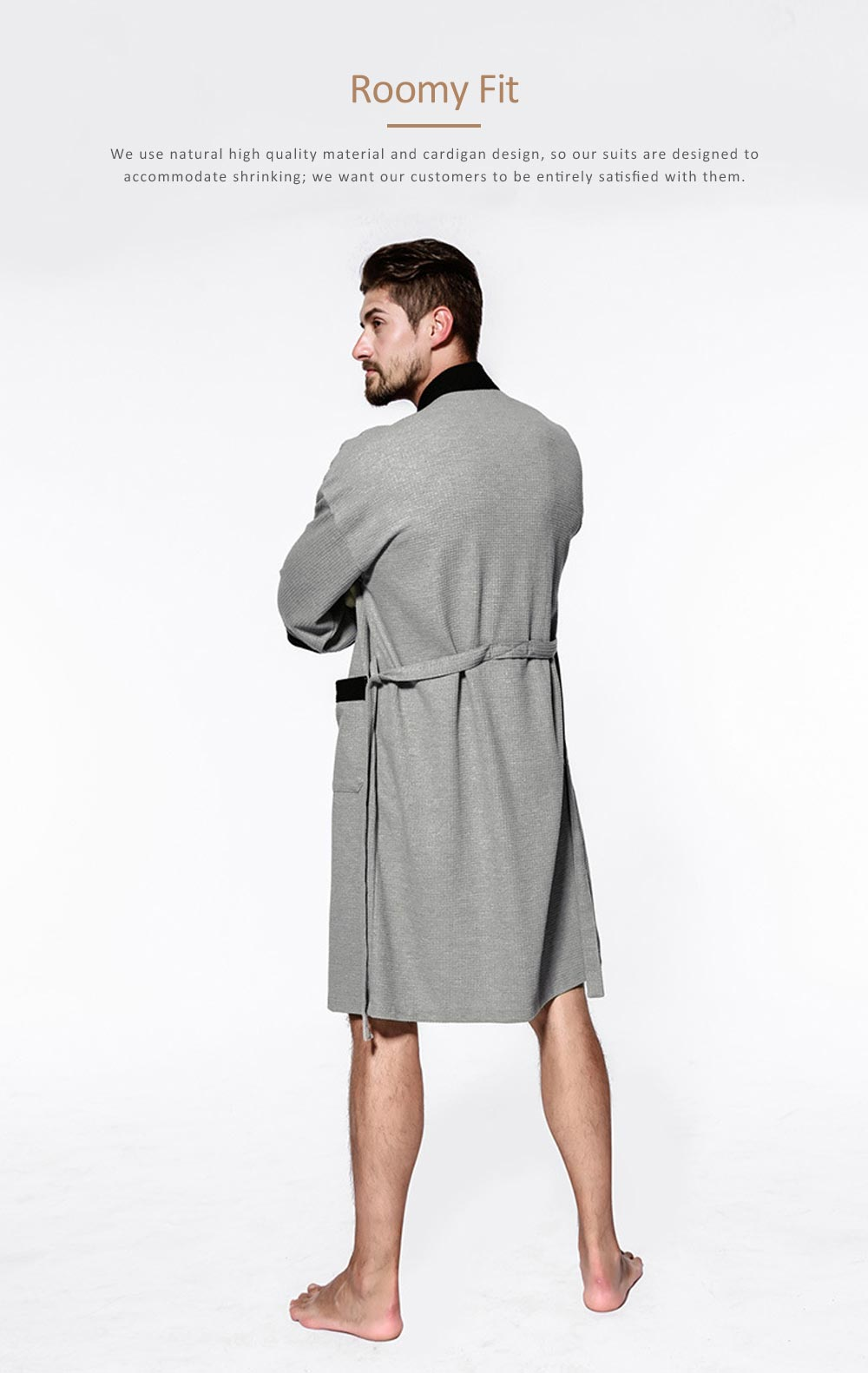 Men All-cotton Skin-friendly Night Gown, Bathrobe, Sweat Sauna Towel for Beauty Salon and Spa Hotel 4