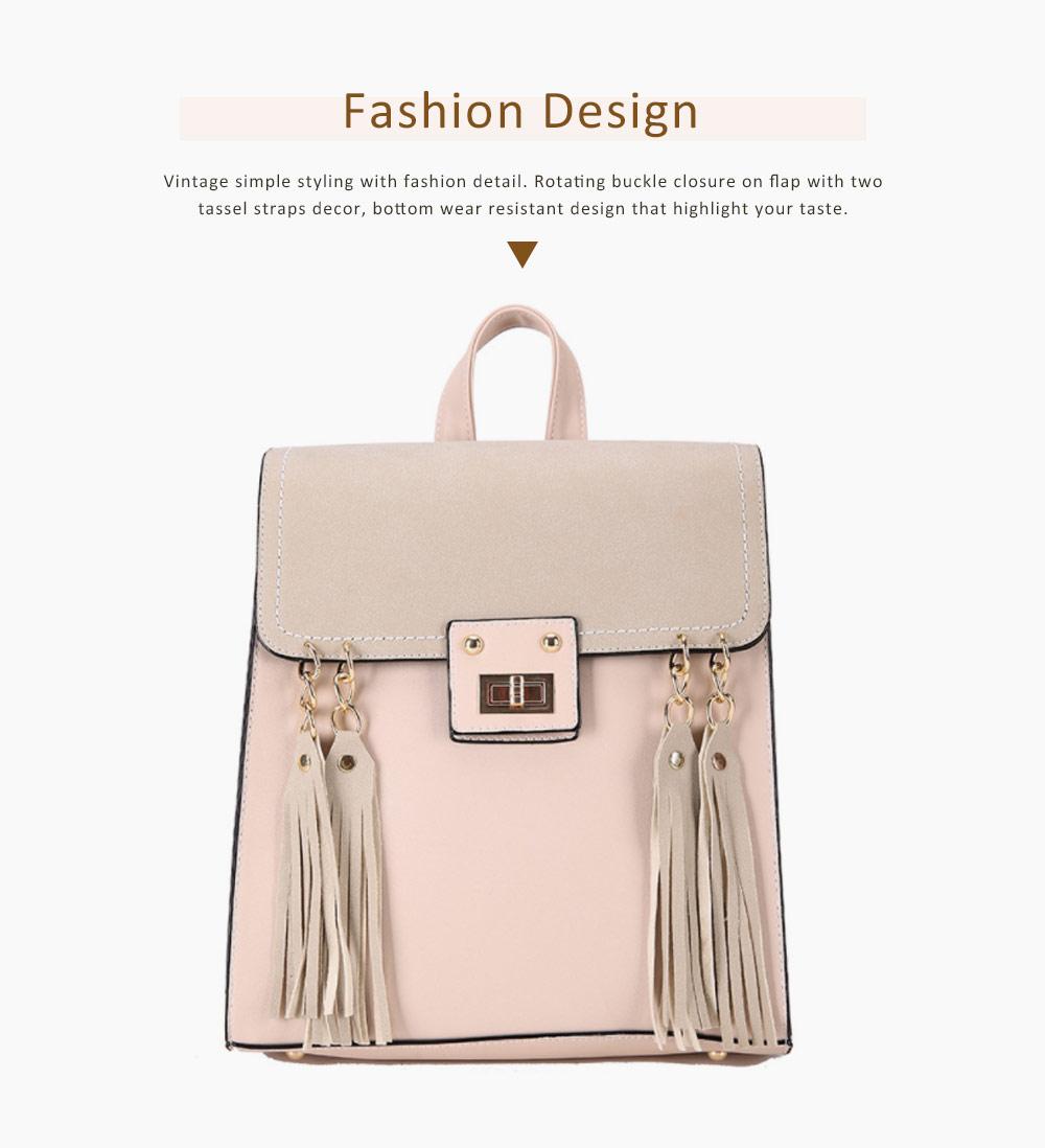 Tassels Handbags College School Bag Large Capacity Backpack Vintage Casual Flap PU Leather Shoulder Bag 2