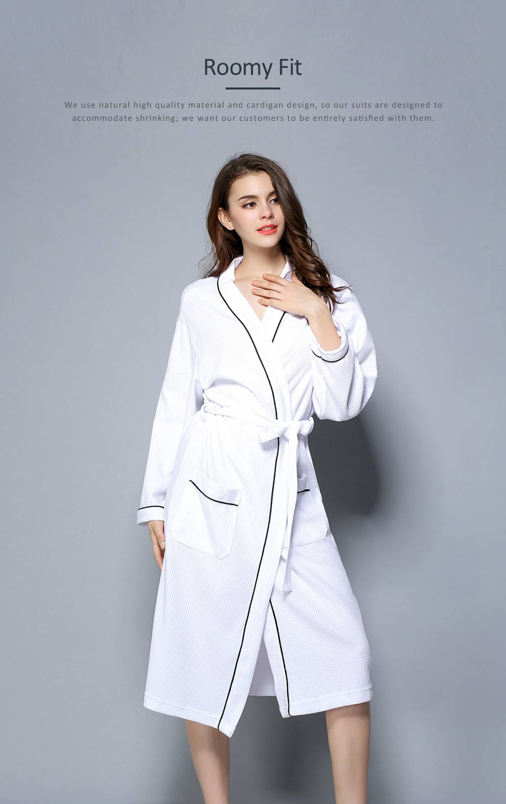 All-cotton Couple's Night Gown, Skin-friendly Delicate Embroidered Bathrobe, Sweat Sauna Towel for Beauty Salon and Spa Hotel 4