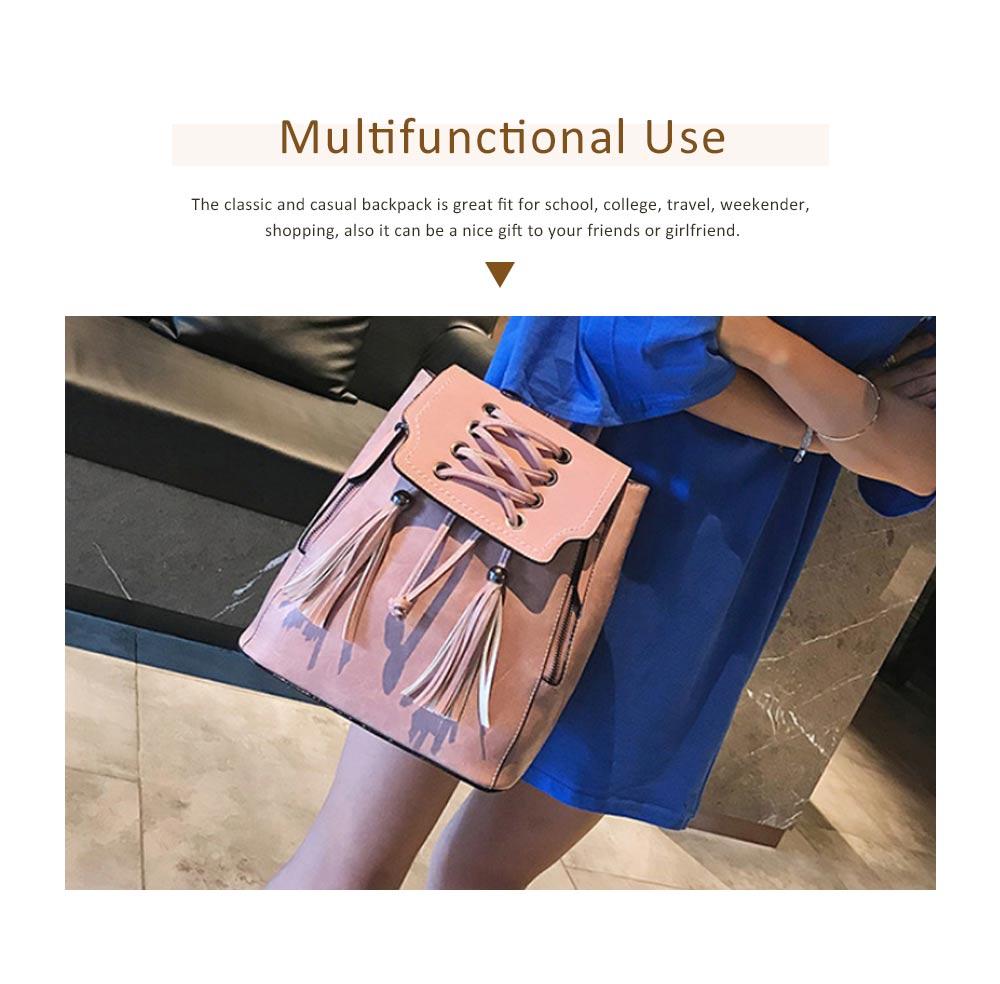 College School Bag Gifts for Women & Girl Backpack Vintage Casual Tassels PU Leather Shoulder Bag 4