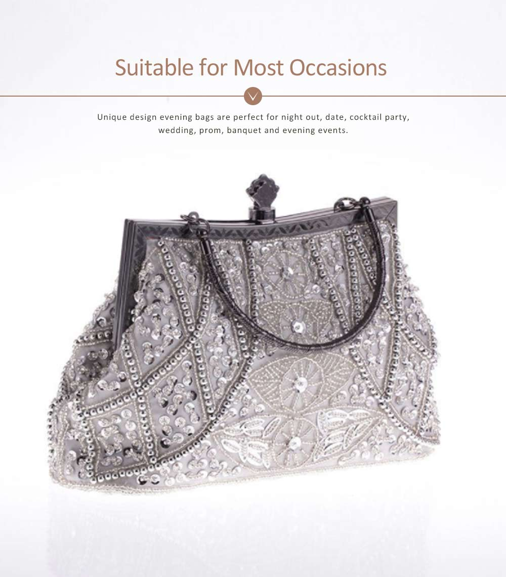 Moonlight Flower Beaded Embroidered Bag with Classic Cheongsam, Evening Bag For the Bride, Bridesmaid 10