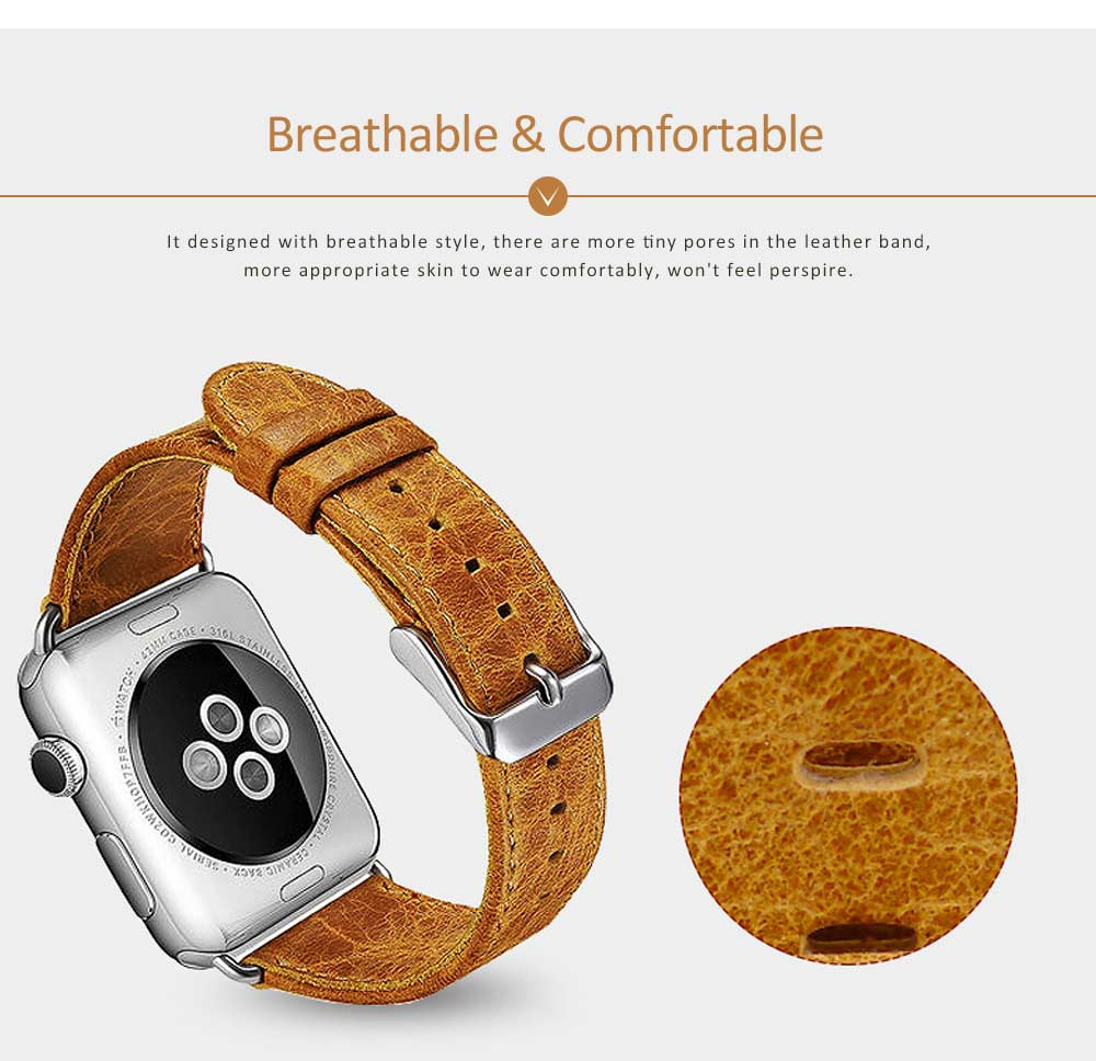Cowhide Genuine Leather Watchband for Apple Watch 38mm, 42mm, Durable Luxurious Leather Watch Strap 4