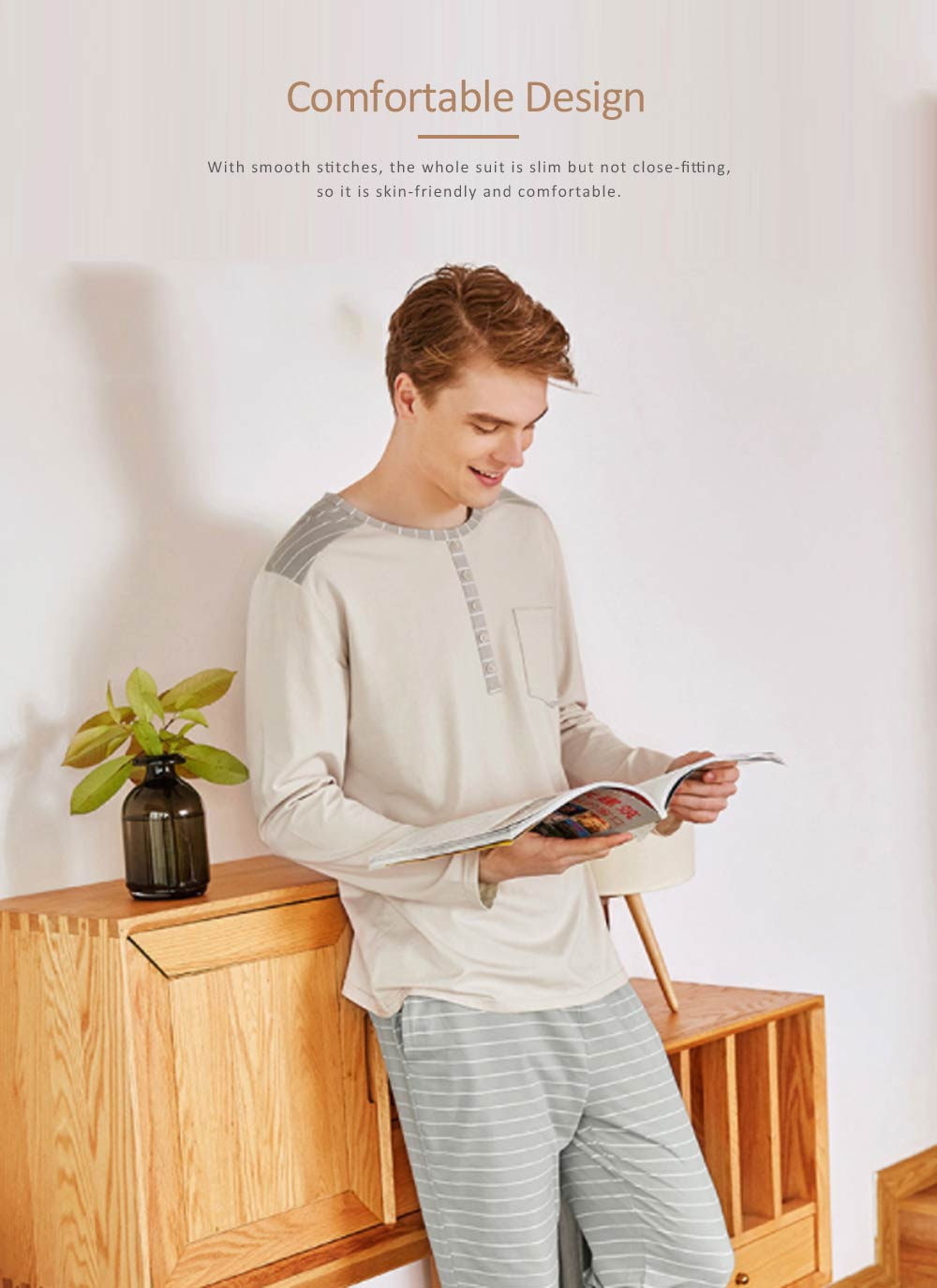 Men's Long-sleeved Casual Knit Pajama Suit with Round-neck Design, Breathable & Soft Household Clothes for Spring Autumn 4