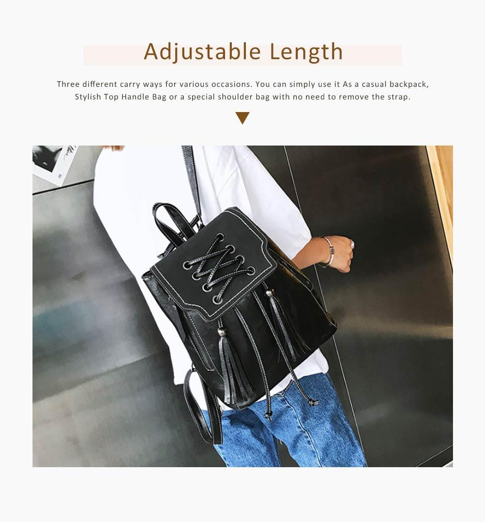 College School Bag Gifts for Women & Girl Backpack Vintage Casual Tassels PU Leather Shoulder Bag 5