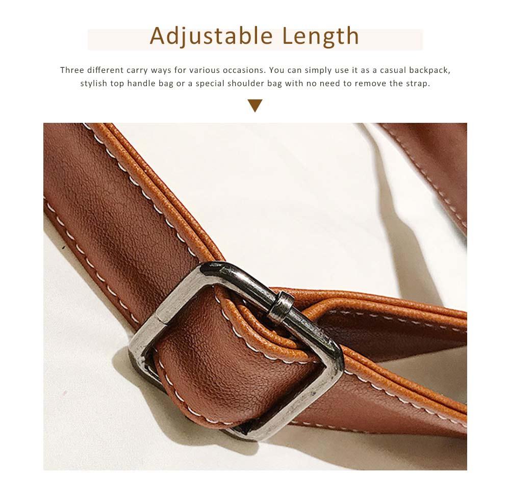 Flip PU Leather Backpack Rucksack Bag Fashion Accessories Large Capacity Handbags College School Bag 5