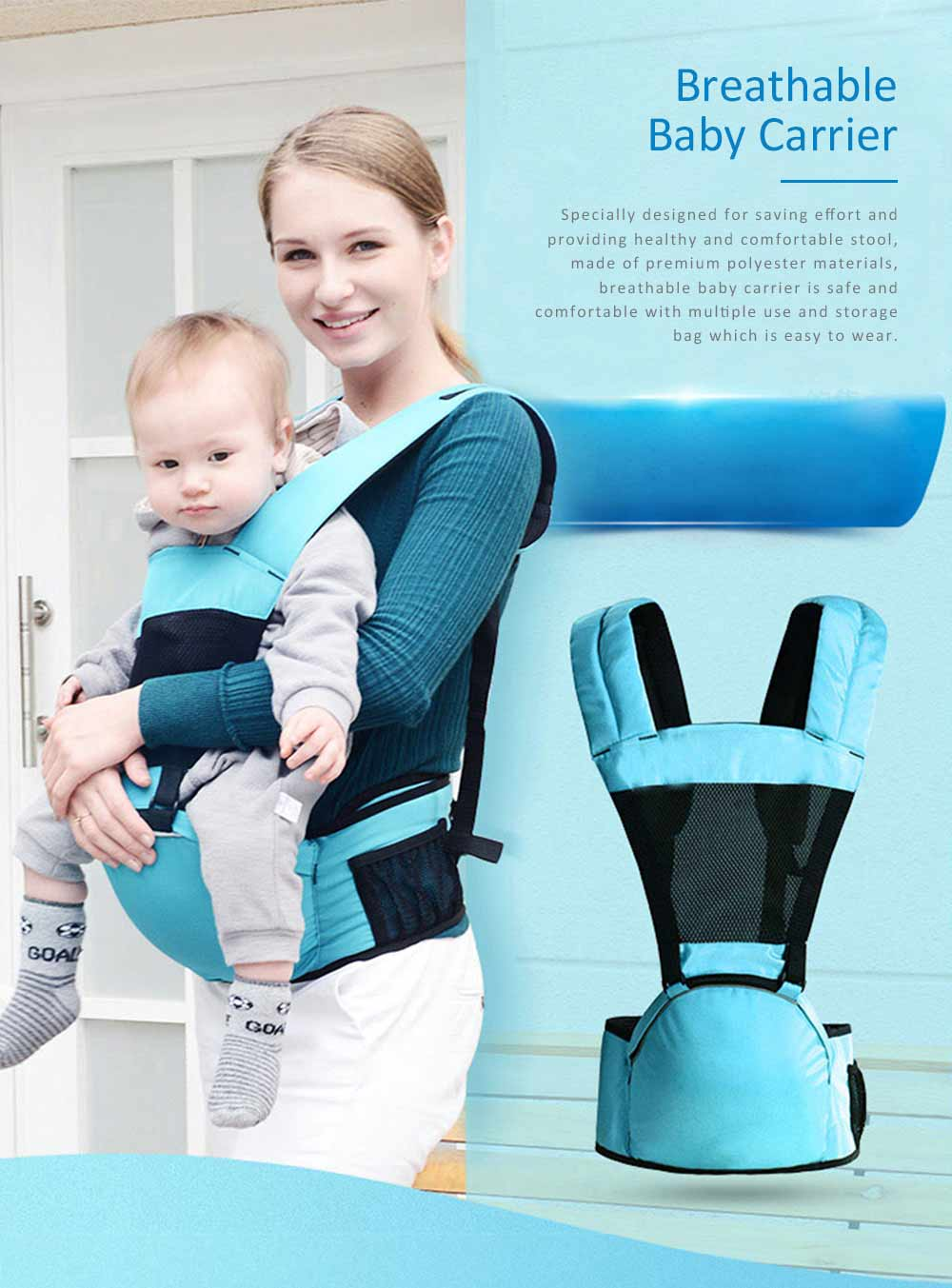 Breathable Baby Carrier for Summer, Durable Baby Lab with Multiple Functions and Storage Bag 0