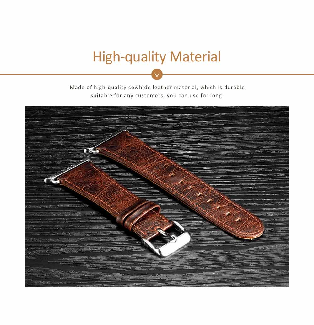 Cowhide Genuine Leather Watchband for Apple Watch 38mm, 42mm, Durable Luxurious Leather Watch Strap 1