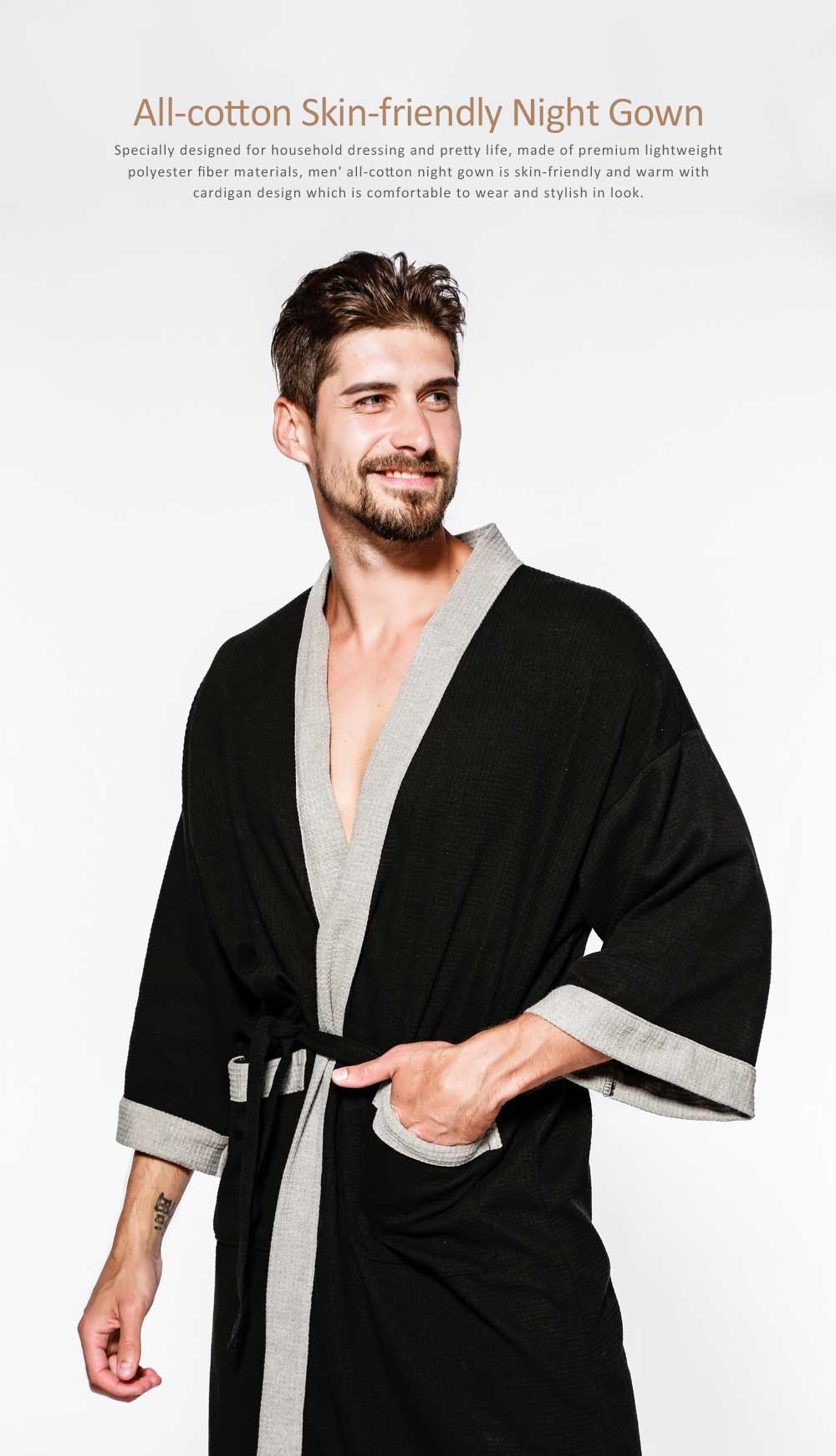 Men All-cotton Skin-friendly Night Gown, Bathrobe, Sweat Sauna Towel for Beauty Salon and Spa Hotel 0