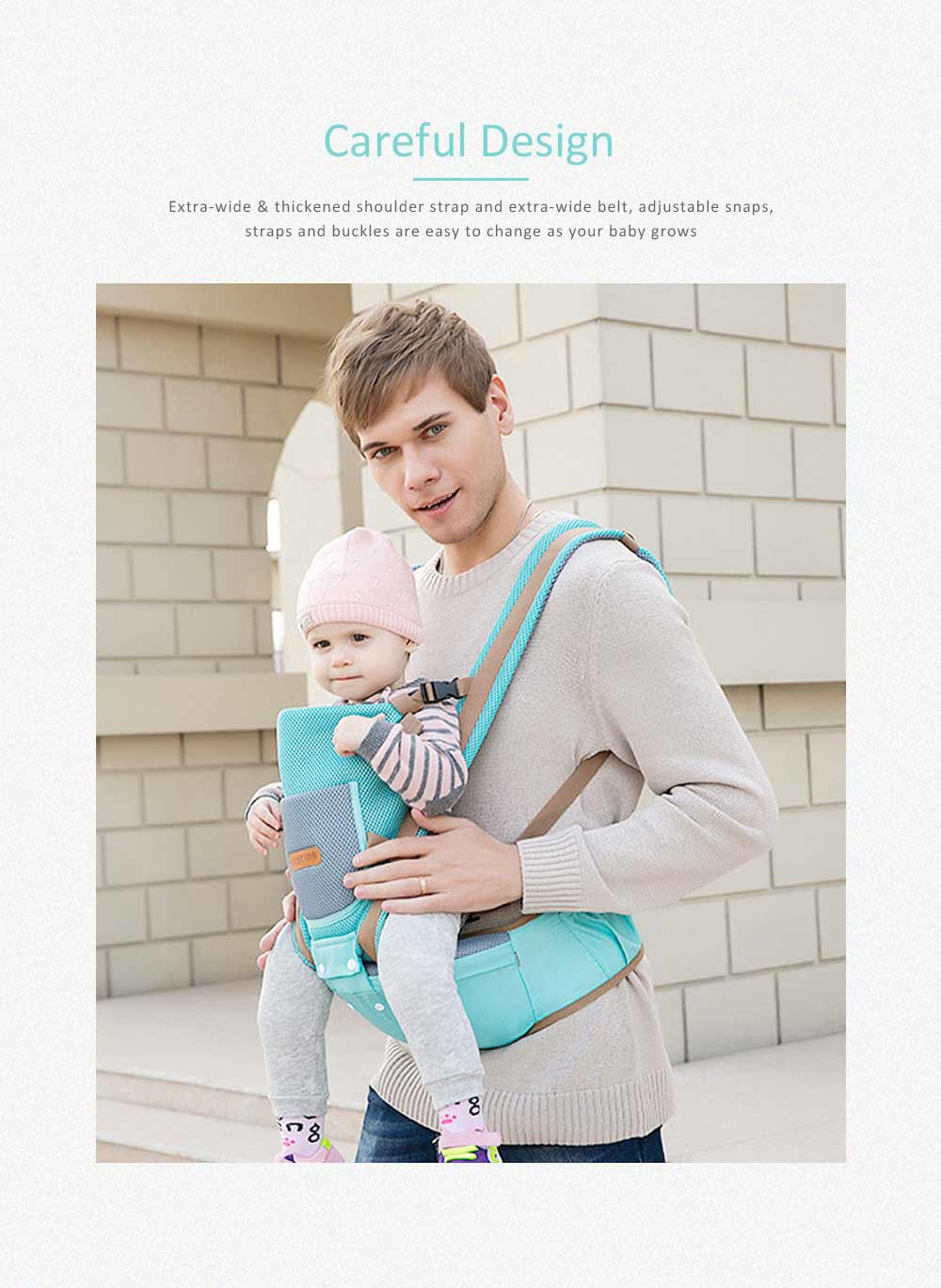 Breathable Baby Carrier, Multi-Functional Wrist Steel Strap With 3D Breathable Mesh Cloth For Baby 6
